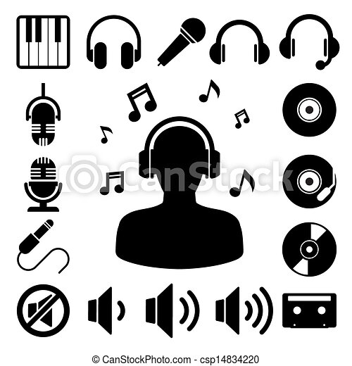 set., muzyka, ikona - csp14834220