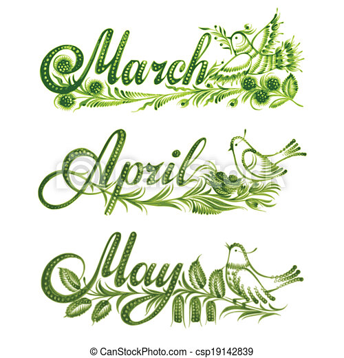 set name of the month spring - csp19142839