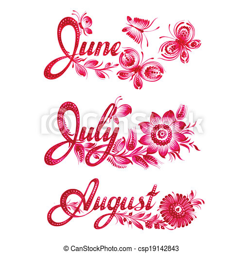 set name of the month summer - csp19142843