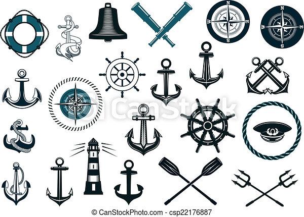 set, nautisch, iconen - csp22176887