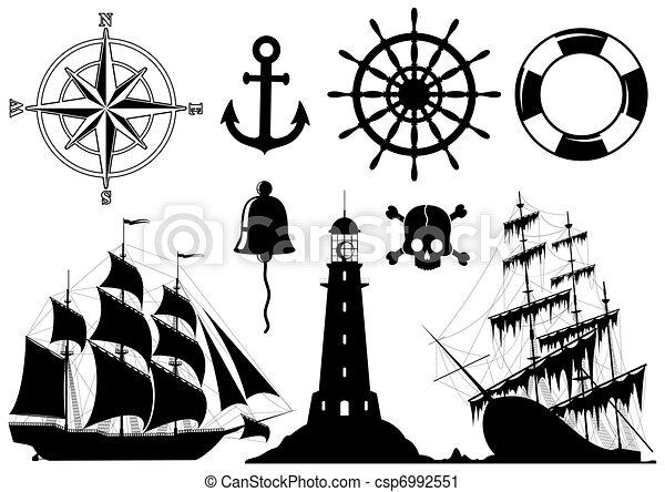 set, nautisch, iconen - csp6992551