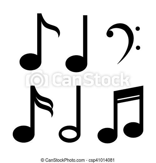 Set Note Music Icon Design Vector Illustration Eps 10