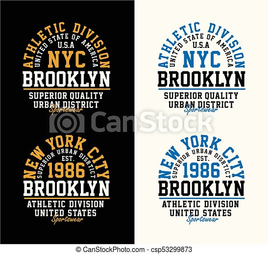 8cfd436d Set nyc brooklyn vintage print for sportswear apparel. Typography ...