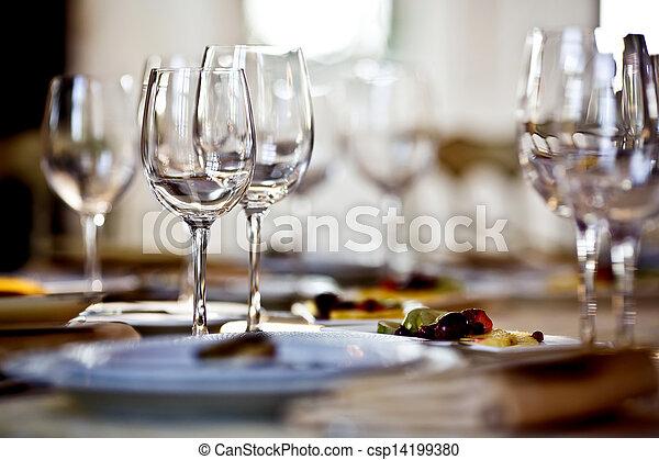 set, occhiali, vuoto, ristorante - csp14199380