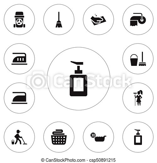 set of 12 editable cleaning icons includes symbols such as clean