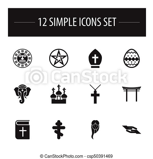 Set Of 12 Editable Dyne Icons Includes Symbols Such As Christian
