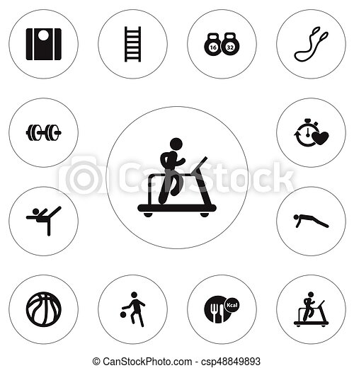 Set Of 12 Editable Fitness Icons Includes Symbols Such As
