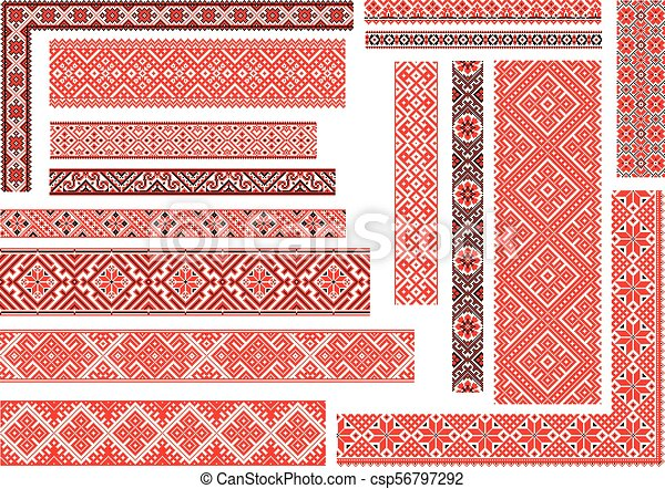 Set Of 15 Seamless Ethnic Patterns For Embroidery Stitch Set Of 15
