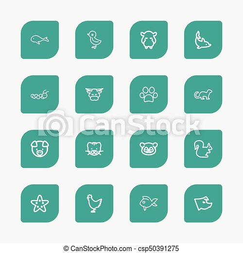 Set Of 16 Editable Animal Outline Icons Includes Symbols Vectors