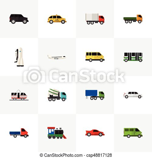 Set Of 16 Editable Automobile Icons. Includes Symbols Such As Missile, Limousine, Hatchback And More. Can Be Used For Web, Mobile, UI And Infographic Design. - csp48817128