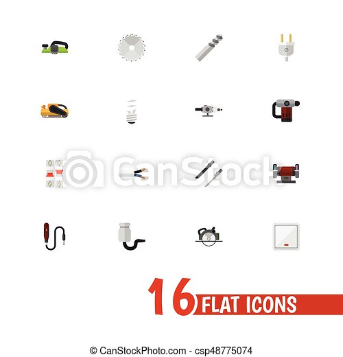 Set Of 16 Editable Electrical Icons Includes Symbols Such As