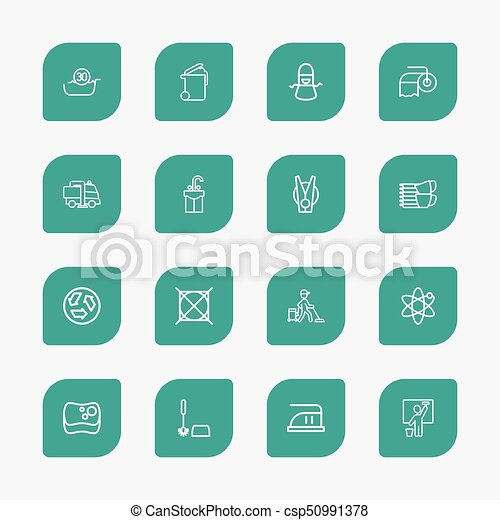 Set Of 16 Editable Hygiene Outline Icons. Includes Symbols Such As Pile, Attention, Worker And More. Can Be Used For Web, Mobile, UI And Infographic Design. - csp50991378