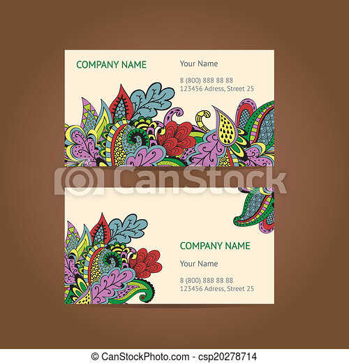 Set of 2 business cards vintage flower ornament vector formate 90x50 set of 2 business cards csp20278714 reheart Gallery