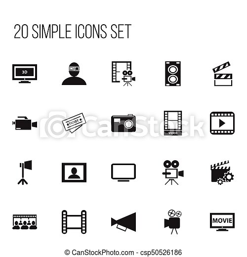 set of 20 editable movie icons includes symbols such as ticket