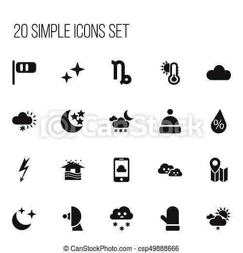 Set Of 20 Editable Weather Icons. Includes Symbols Such As Breeze Cone, Interest, Twilight And More. Can Be Used For Web, Mobile, UI And Infographic Design. - csp49888666