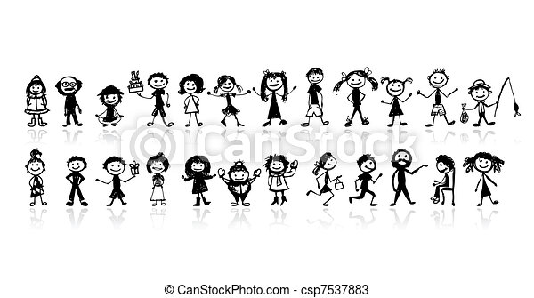 Set of 24 drawing people's for your design - csp7537883