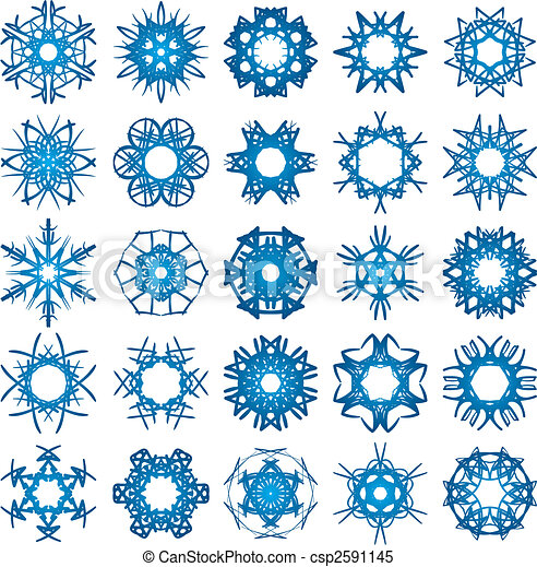 Set of 25 a six-rays crystal gradient snowflakes. - csp2591145