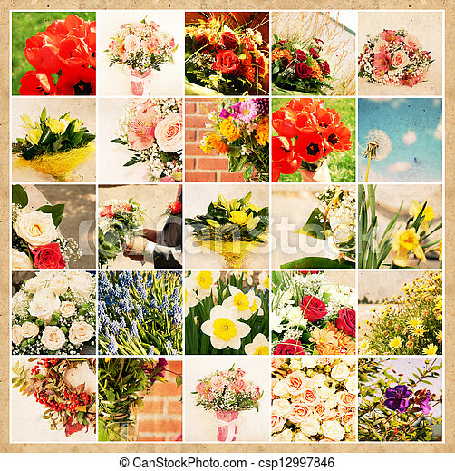 Set of 25 floral pictures on grunge old paper - csp12997846