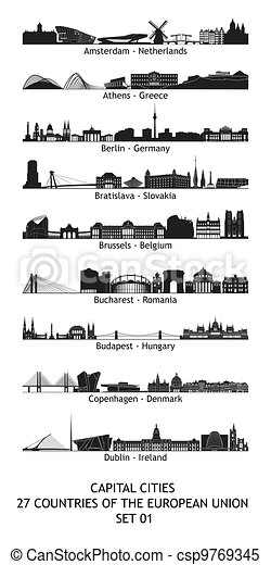 Set of 27 skylines of the capital cities of the european union - csp9769345