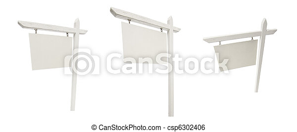 Set of 3 Different Angled Blank Real Estate Signs Isolated on White. - csp6302406