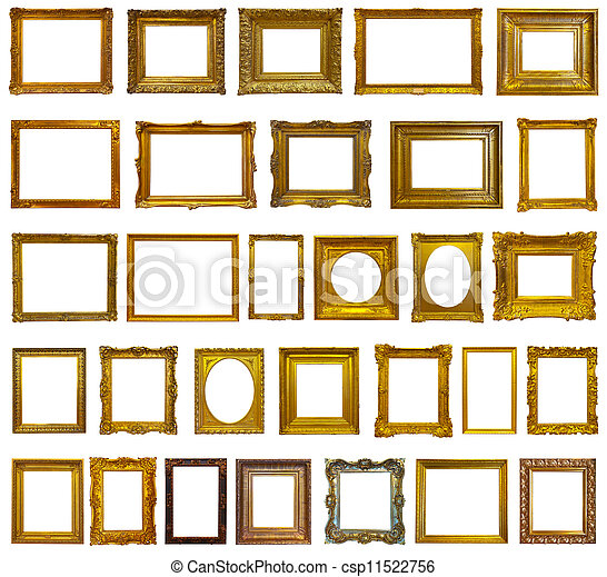 Set of 30 gold picture frames - csp11522756
