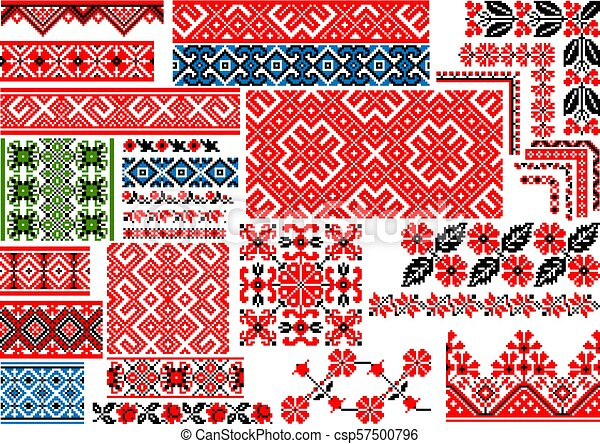 Set Of 30 Seamless Ethnic Patterns For Embroidery Stitch Collection