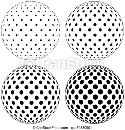 set of 3d globe ball dots circles pattern on the surface of the rh canstockphoto com Circle Shape Clip Art Circle Border Clip Art
