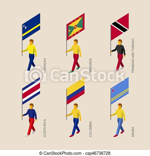 Set of 3d isometric people with flags of Caribbean countries - csp46736728