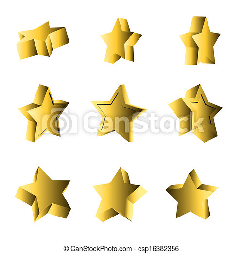 set of 3d looking stars - csp16382356