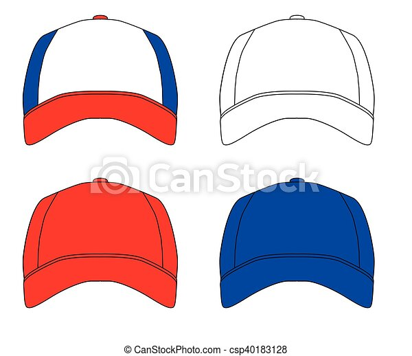 Set of 4 baseball caps. Red white and blue typical baseball caps ... 02562a6c2ca
