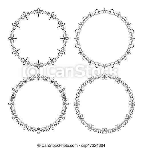 Set of 4 black round elegant decorative vector frames.