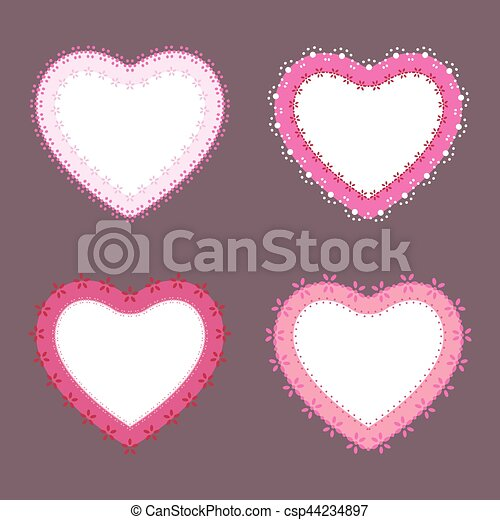 Set of 4 cute lace border heart labels, vector illustration - csp44234897