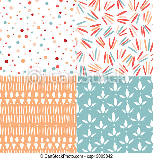 Set of 4 doodle abstract seamless patterns - csp13003842