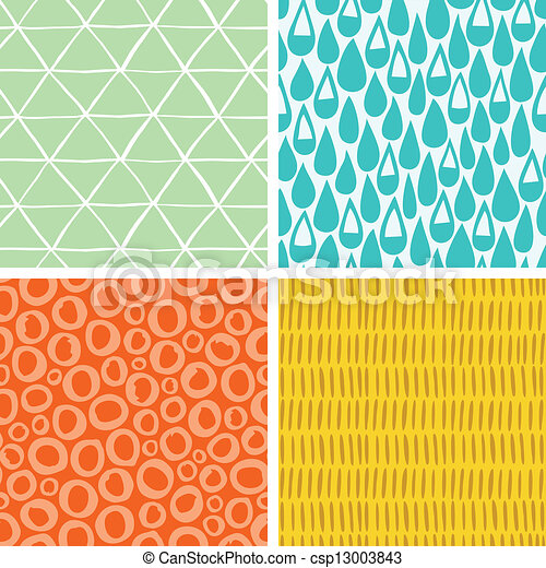 Set of 4 doodle abstract seamless patterns - csp13003843