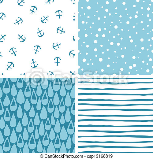Set of 4 doodle abstract seamless patterns in swatches. - csp13168819