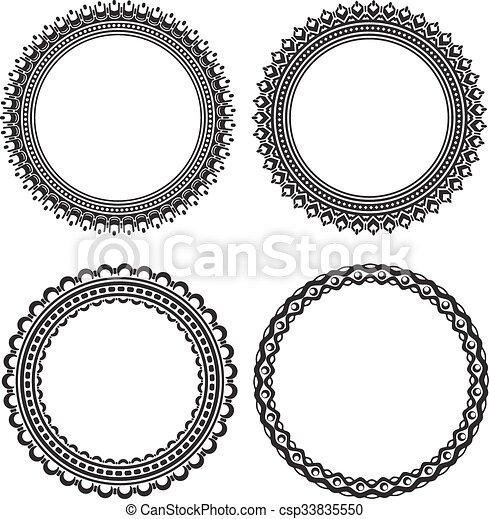 Set of 4 elegant vector round frames .