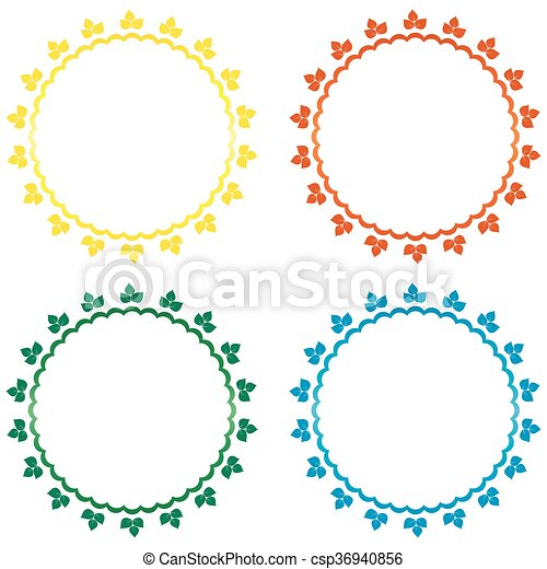 set of 4 frames set of 4 frames with bright leaves clipart vector rh canstockphoto com vector frames indesign cs6 vector frames vintage