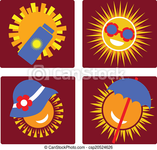 set of 4 icons for sun protection - csp20524626
