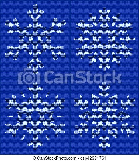 Set Of 4 Snowflake Christmas New Year Ornament On Blue Background