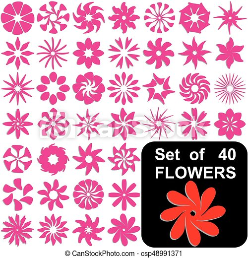 Set Of 40 Flowers Symbols Set Of 40 Flowers In Different Shapes