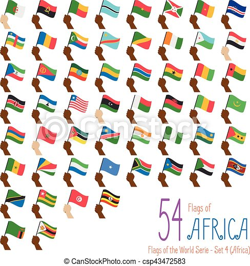 Set of 54 flags of Africa. Hand raising the national flags of 54 countries of Africa. Icon set Vector Illustration. - csp43472583