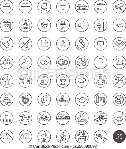 Set of 55 tourism travel hotel recreation line icons - csp50890892