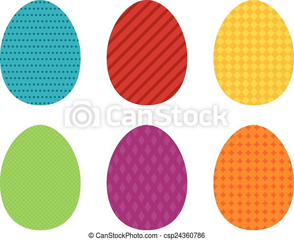 Set of 6 colorful simple Easter egg - csp24360786