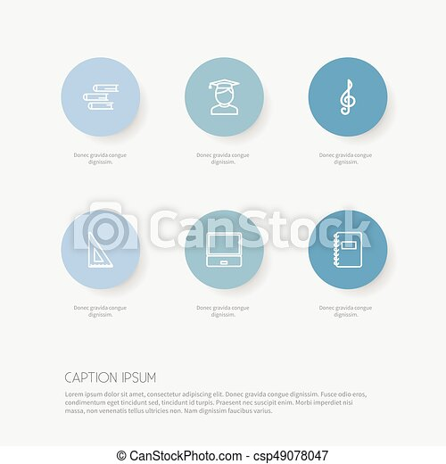 Set Of 6 Editable Teach Outline Icons. Includes Symbols Such As Classbook, Notebook, Treble Clef And More. Can Be Used For Web, Mobile, UI And Infographic Design. - csp49078047
