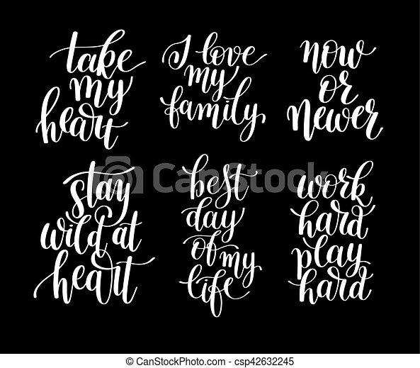 set of 6 handwritten lettering positive quotes about life - csp42632245