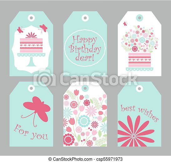 picture regarding Cute Gift Tags Printable called Mounted of 6 printable hand drawn birthday label