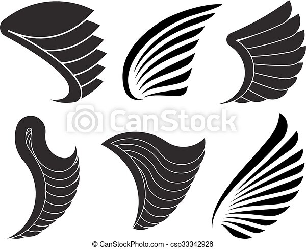 Set of 6 vector wings for your design. - csp33342928
