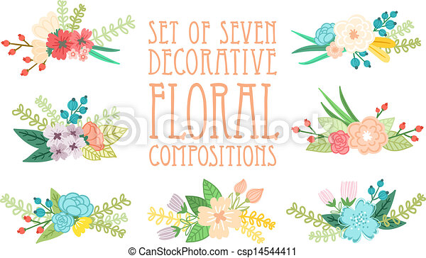 Set of 7 floral compositions, decorative vector illustration - csp14544411