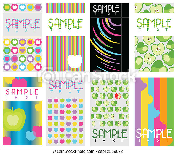 set of 8 abstract business cards - csp12589072