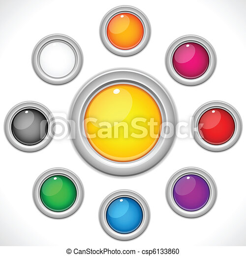 Set of 9 Colorful Glossy Buttons - csp6133860